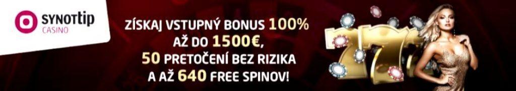 Synottip Kasíno 690 Free Spinov ZADARMO